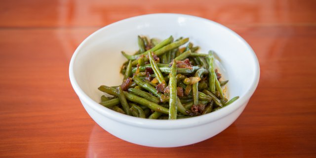 Green Beans & Bacon at Bootleggin BBQ St. Louis - Order dine-in, delivery, carry out, or catering