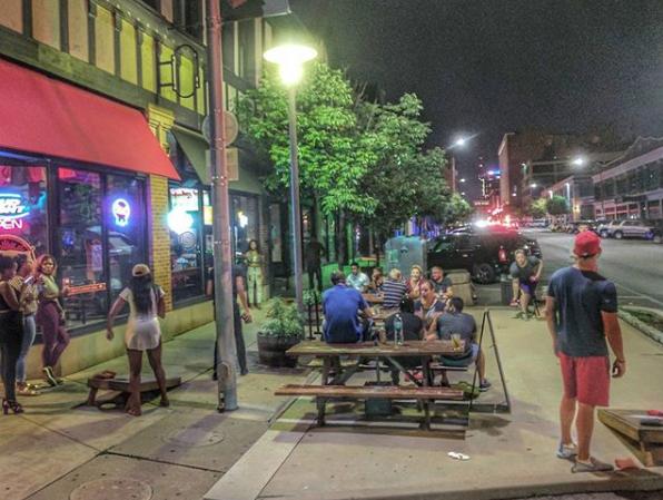 Patio Fun at Bootleggin BBQ St. Louis Downtown West Washington Avenue
